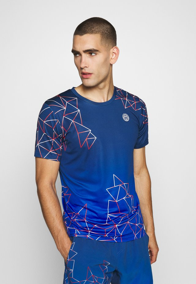 JAROL TECH TEE - T-shirt print - dark blue/blue