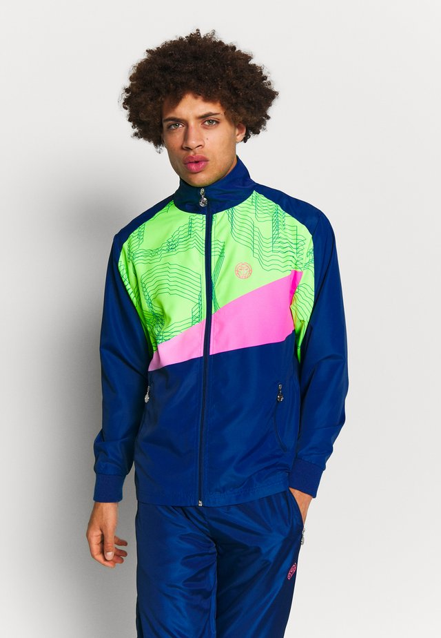 BILLAL TECH TRACKSUIT - Trainingsanzug - dark blue/neon green/pink