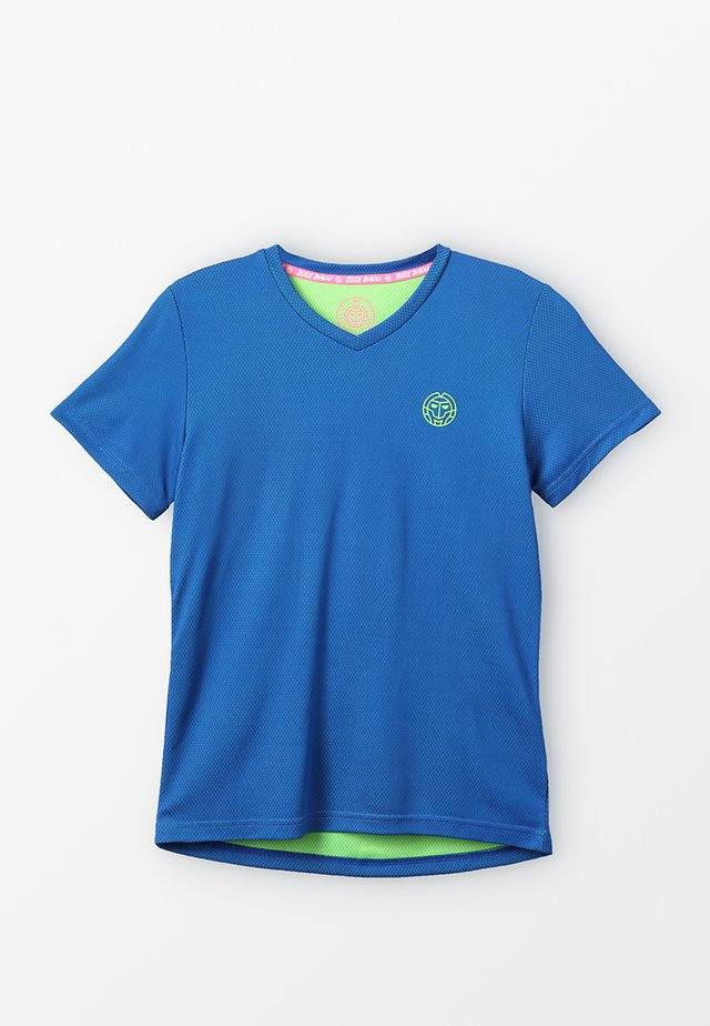 EVIN TECH ROUND NECK TEE - T-shirt med print - blue/neon green