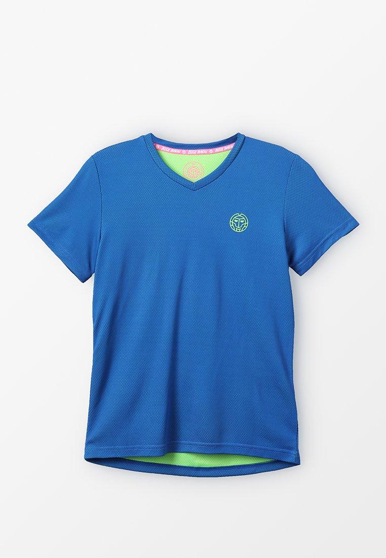 BIDI BADU - EVIN TECH ROUND NECK TEE - Triko spotiskem - blue/neon green