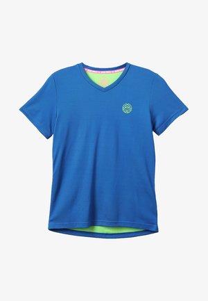 EVIN TECH ROUND NECK TEE - Triko spotiskem - blue/neon green