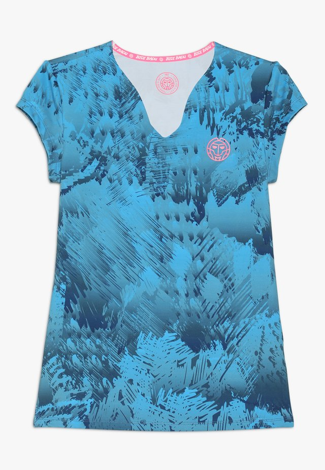 BELLE 2.0 TECH V NECK TEE - T-shirt med print - dark blue/turquoise