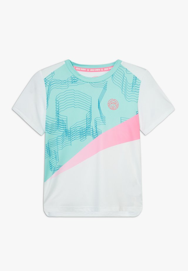 AKOFA TECH TEE - T-Shirt print - white/mint/pink