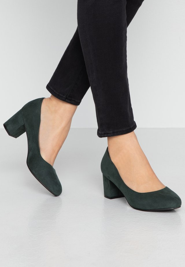 WIDE FIT BIABLANCHE BLOK HEEL - Pumps - dark green
