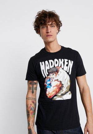 STREET FIGHTER HADOUKEN ANIME TEE - Triko s potiskem - black