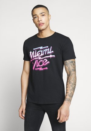 MIAMI VICE NEON TEE - Triko spotiskem - black