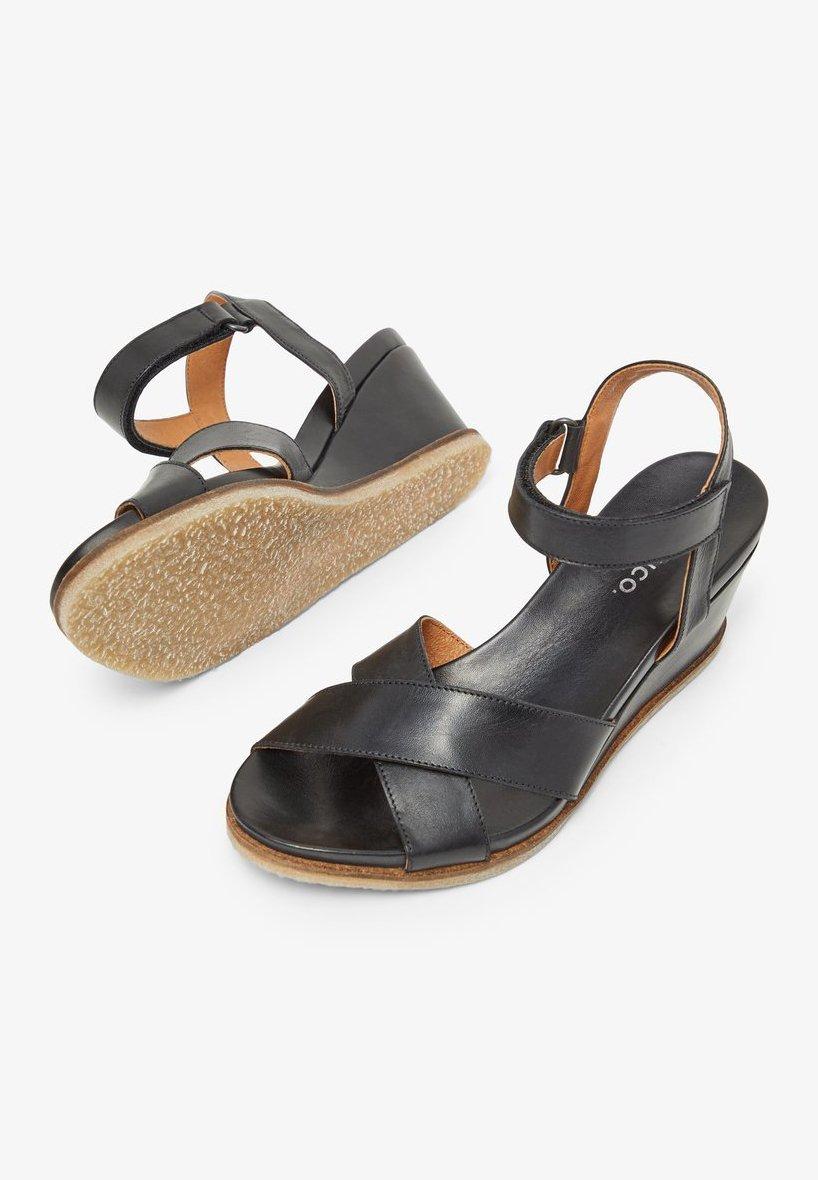 Bianco SANDALEN LEDER - Wedge sandals - black