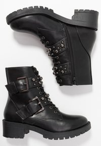 Bianco - BIACLAIRE STUD BELT BOOT - Stivaletti texani / biker - black - 3