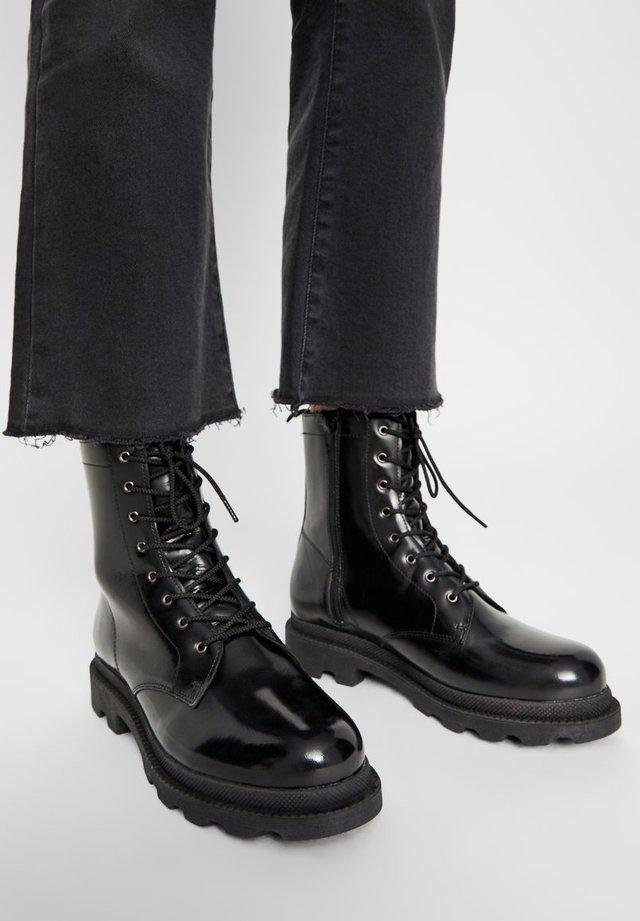 BIKER BOOTS REISSVERSCHLUSS - Lace-up ankle boots - black