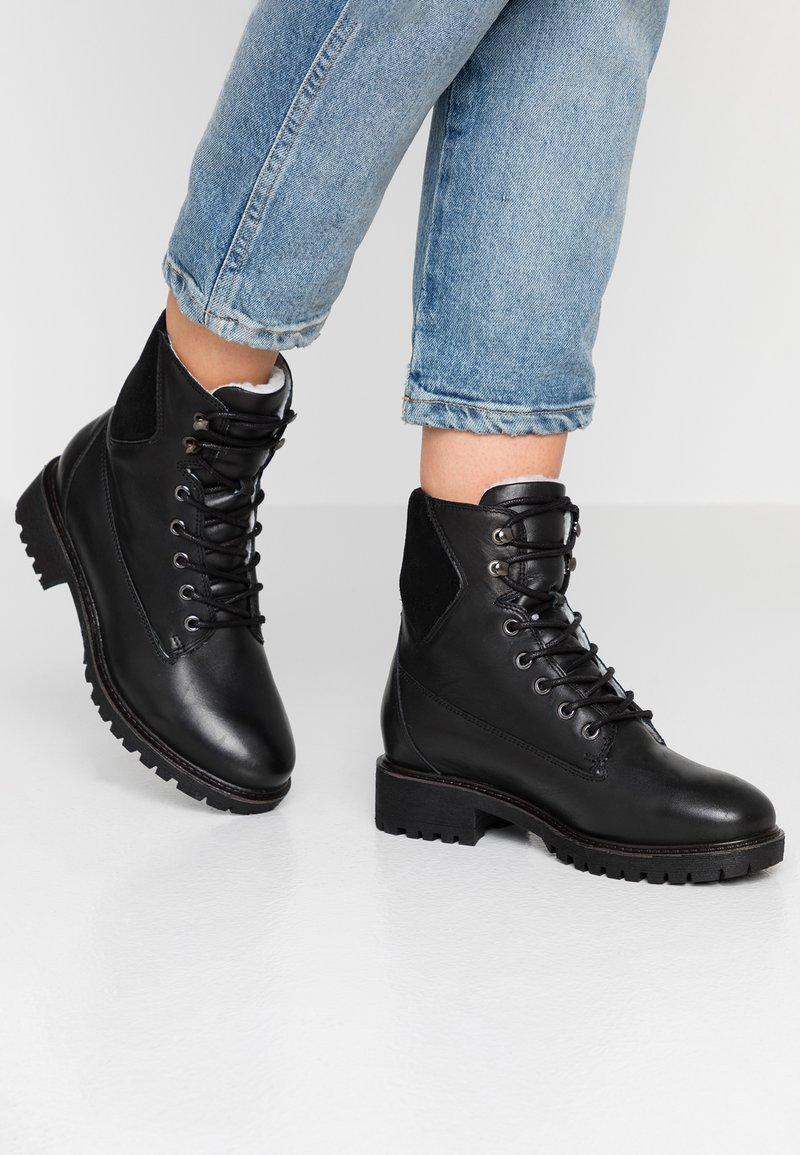 Bianco - BIACHERYL WARM BOOT - Lace-up ankle boots - black
