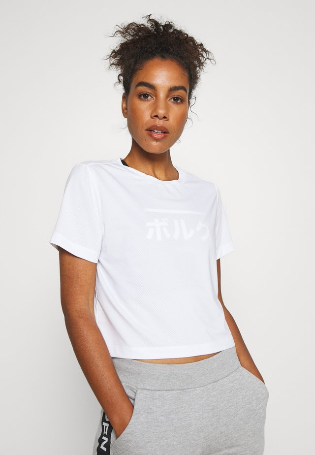 CATE CROPPED TEE - T-shirts med print - brilliant white