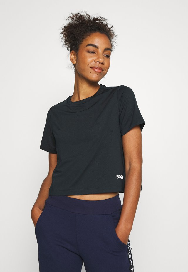 CATE CROPPED TEE - T-shirts med print - black beauty