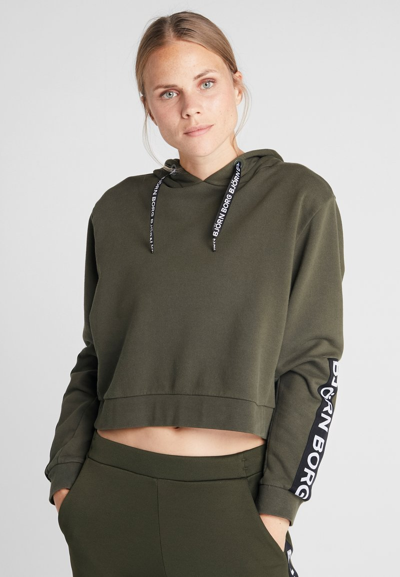 Björn Borg - CROPPED HOOD SPORT - Hoodie - forest night