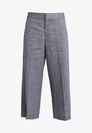 HIGH RISE WIDE LEG CROP - Spodnie materiałowe - preppy navy