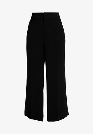 WIDE LEG FLUID TWILL - Pantaloni - black
