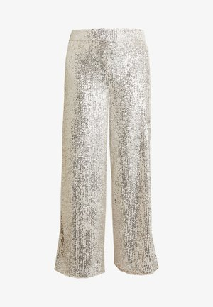 WIDE LEG SEQUIN PANT - Tygbyxor - silver