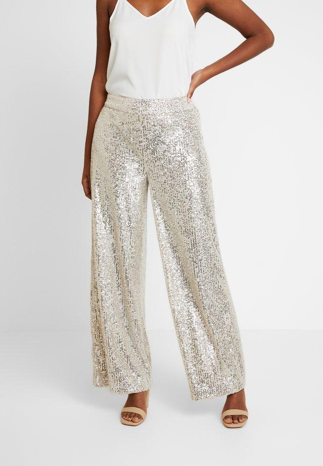 WIDE LEG SEQUIN PANT - Pantaloni - silver