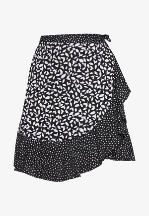 RUFFLE MINI SKIRT - Falda cruzada - black