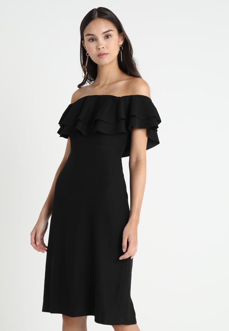 Banana Republic - OFF SHOULDER FLOUNCE DRESS SOLID - Robe d'été - black
