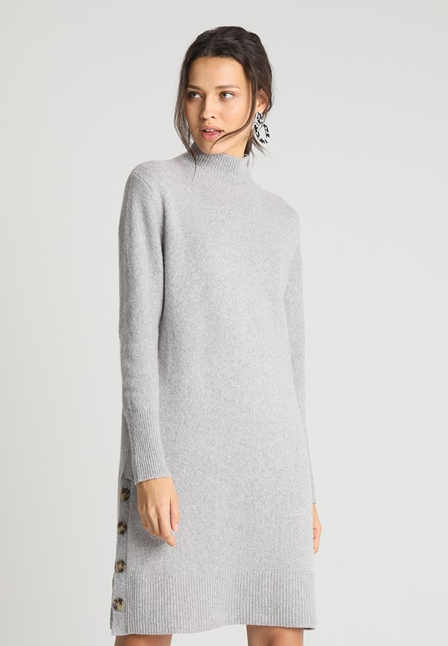 TNECK SIDE BUTTONS - Abito in maglia - light grey