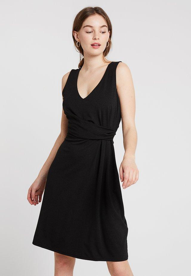 FAUX WRAP DRESS - Vestito di maglina - black