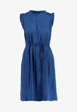 SOFT RUFFLE NECK SOLID DRESS - Sukienka letnia - indigo fog global