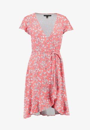 WRAP PRINT DRESS - Jersey dress - coral