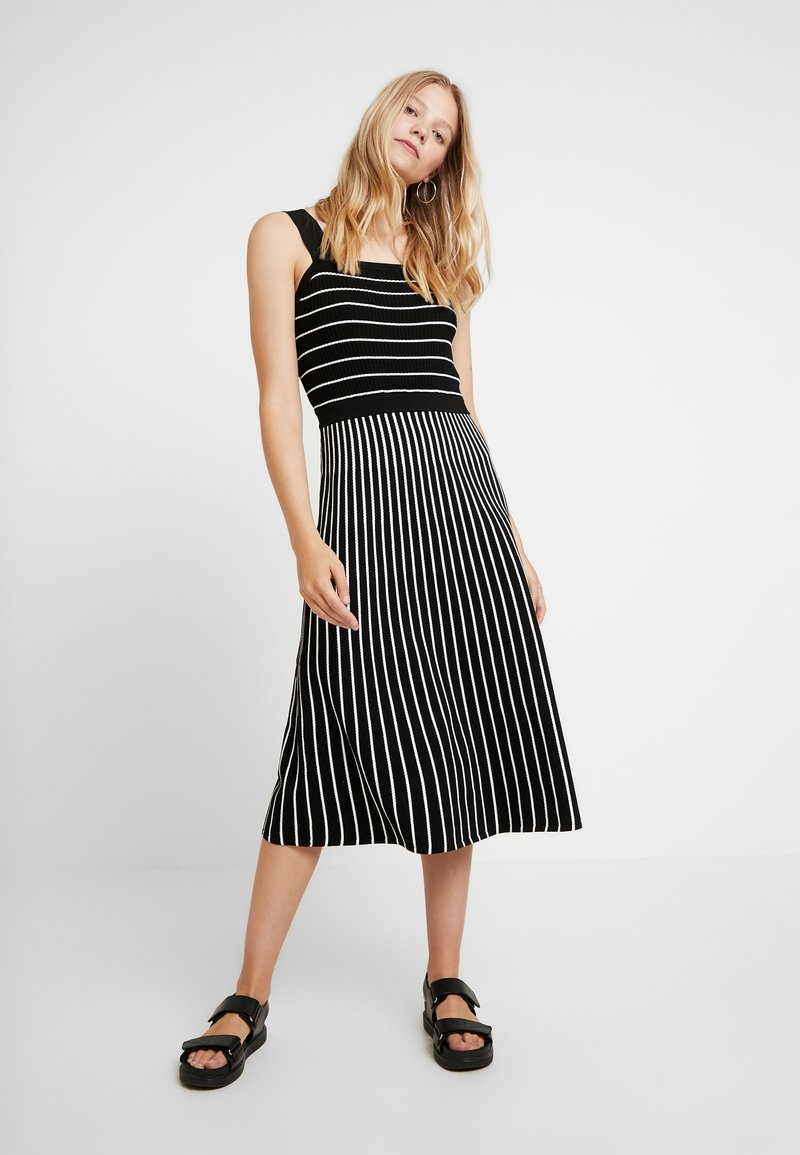 Banana Republic - SQUARE NECK STRIPED - Strickkleid - black