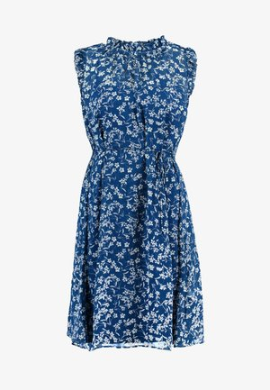 RUFFLE NECK FLORAL DITSY OUTLINES DRESS - Day dress - blue/white
