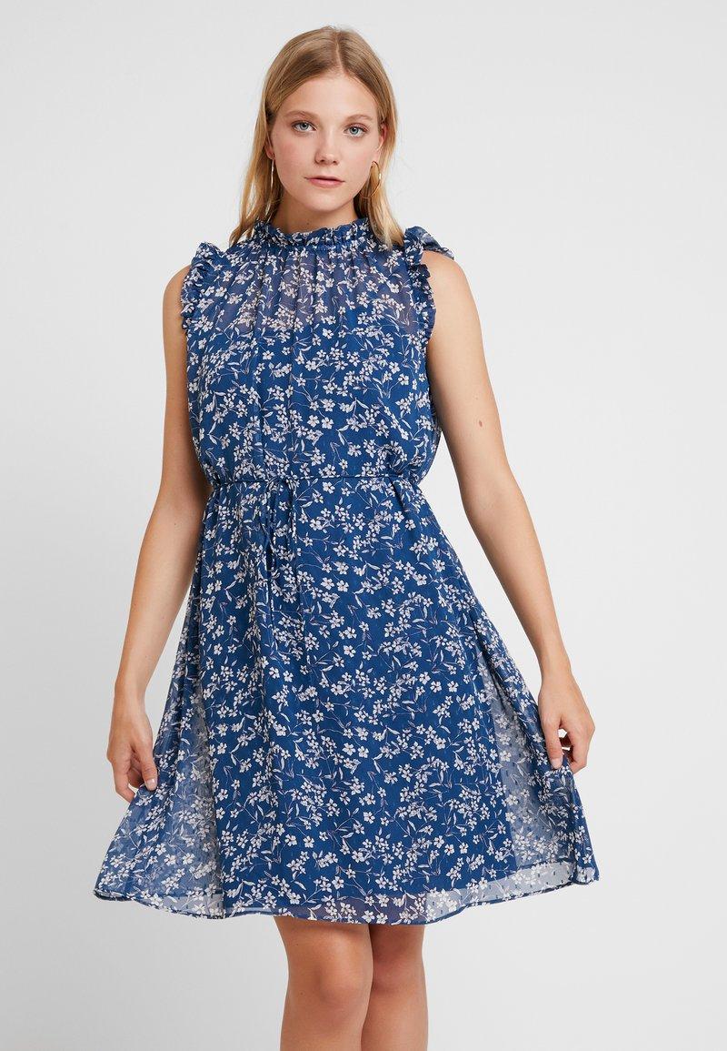 Banana Republic - RUFFLE NECK FLORAL DITSY OUTLINES DRESS - Korte jurk - blue/white