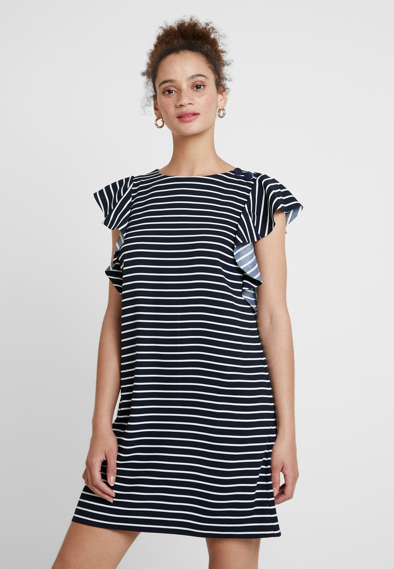 Banana Republic - RUFFLE STRIPE SHIFT - Freizeitkleid - bold blue