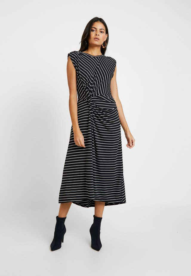 TWIST FRONT MATTE DRESS STRIPE - Jerseykleid - black/white