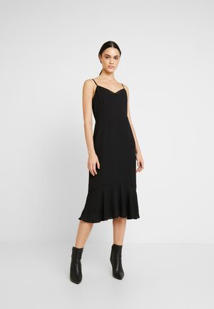VNECK FLOUNCE HEM SHEATH TRIM - Day dress - black
