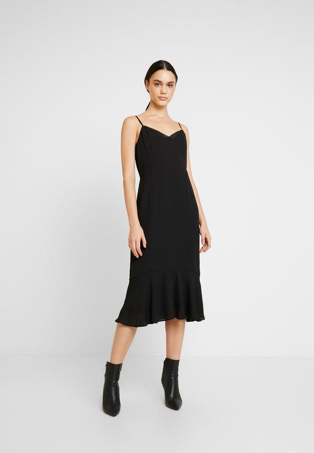 VNECK FLOUNCE HEM SHEATH TRIM - Sukienka letnia - black