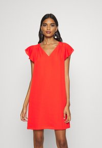 Banana Republic - RUFFLED MINI SWING DRESS - Vestito estivo - hot red - 0
