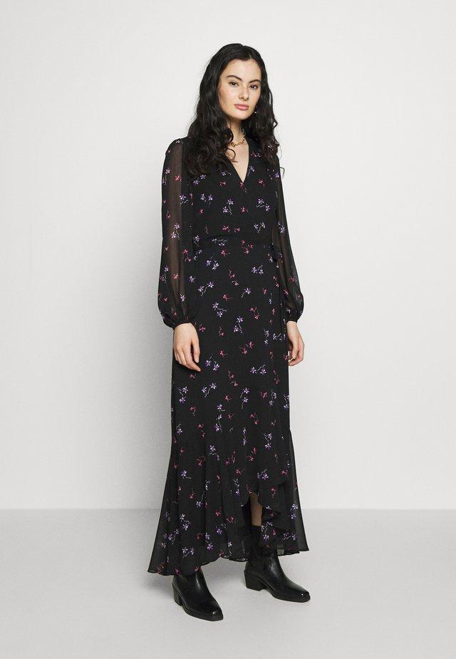 VNECK WRAP - Vestido largo - black/floral