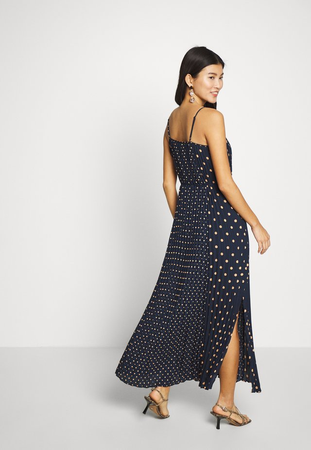 PLEATED DOT PRINT - Robe longue - navy