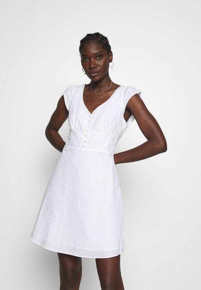 RUFFLE FRONT MINI SOLID - Vestido informal - white