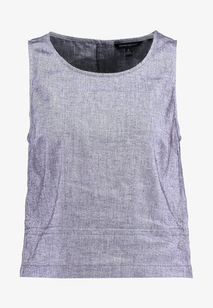 BUTTON BACK CROP SOLIDS - Blouse - washed indigo