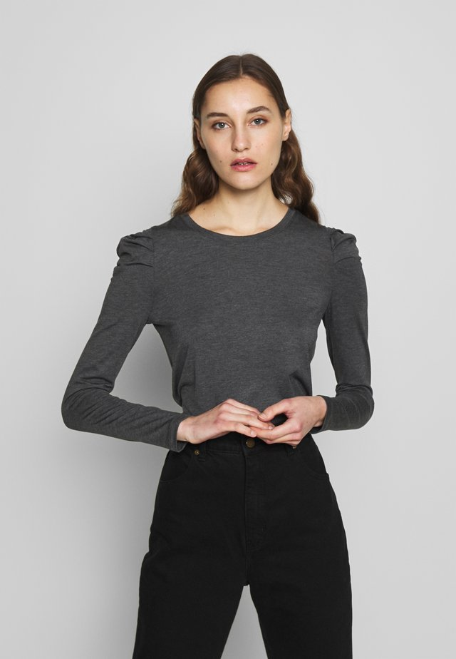 LS ROUCHED PUFF SLEEVE THREADSOFT SOLID - Topper langermet - oatmeal