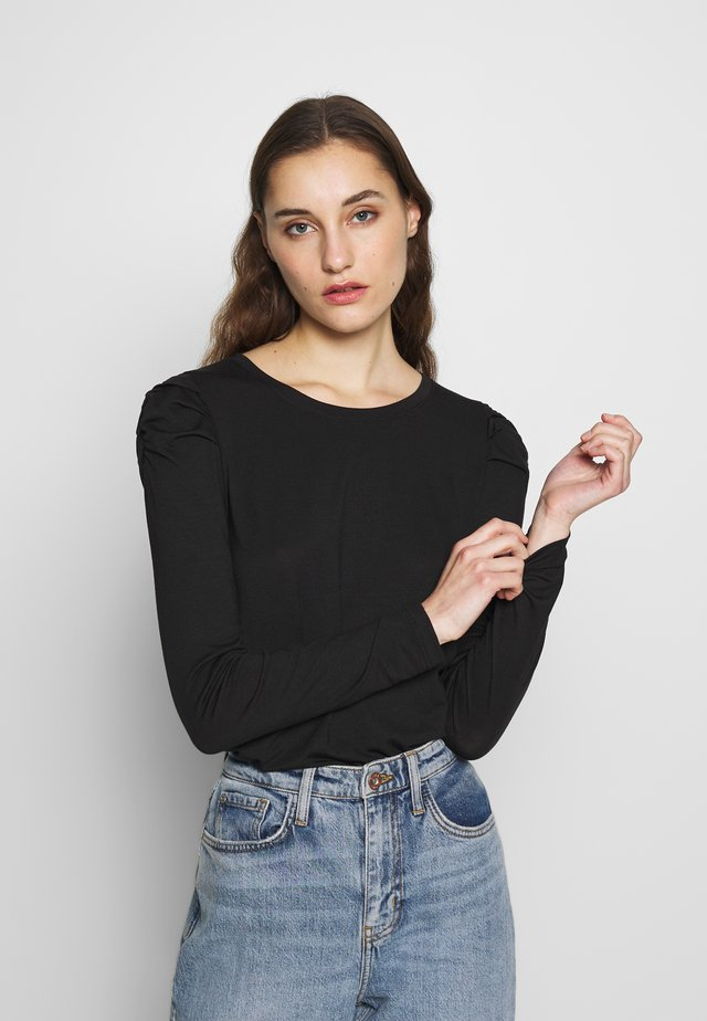 LS ROUCHED PUFF SLEEVE THREADSOFT SOLID - Langærmede T-shirts - black