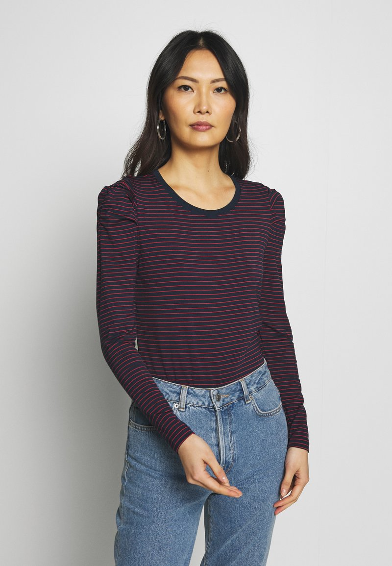 Banana Republic - RUCHED PUFF SLEEVE THREADSOFT - Long sleeved top - navy/red