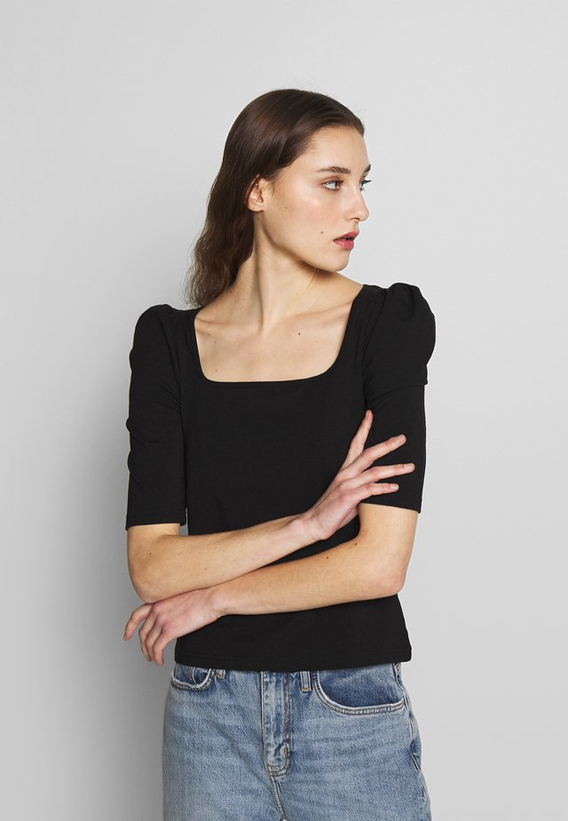 SQUARE NECK PUFF SHOULDER - T-shirt con stampa - black