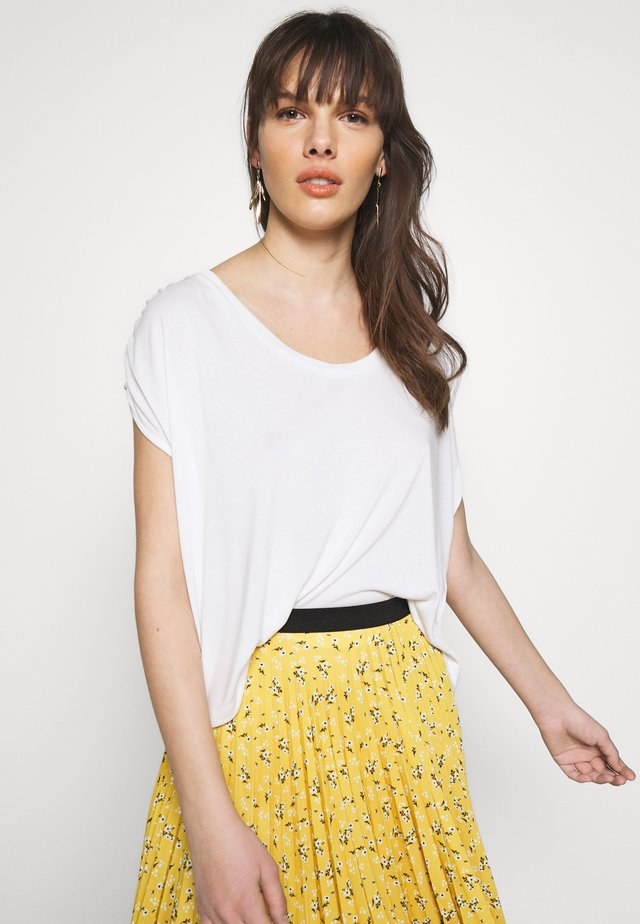 SHORT SLEEVE RUCHED - T-Shirt print - ivory