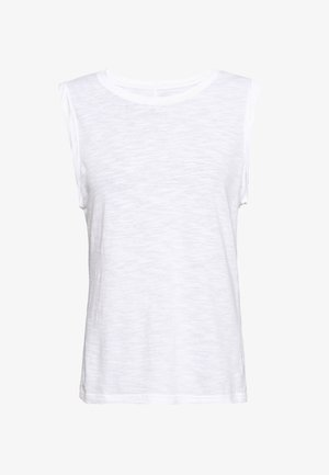 ROLL SLEEVE MUSCLE TEE COZY SLUB - Toppi - white