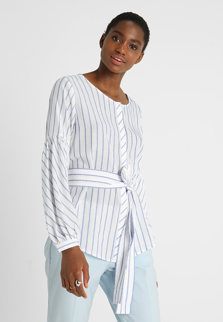 Banana Republic - TIE WAIST VOLUME SLEEVE STRIPE - Bluse - white