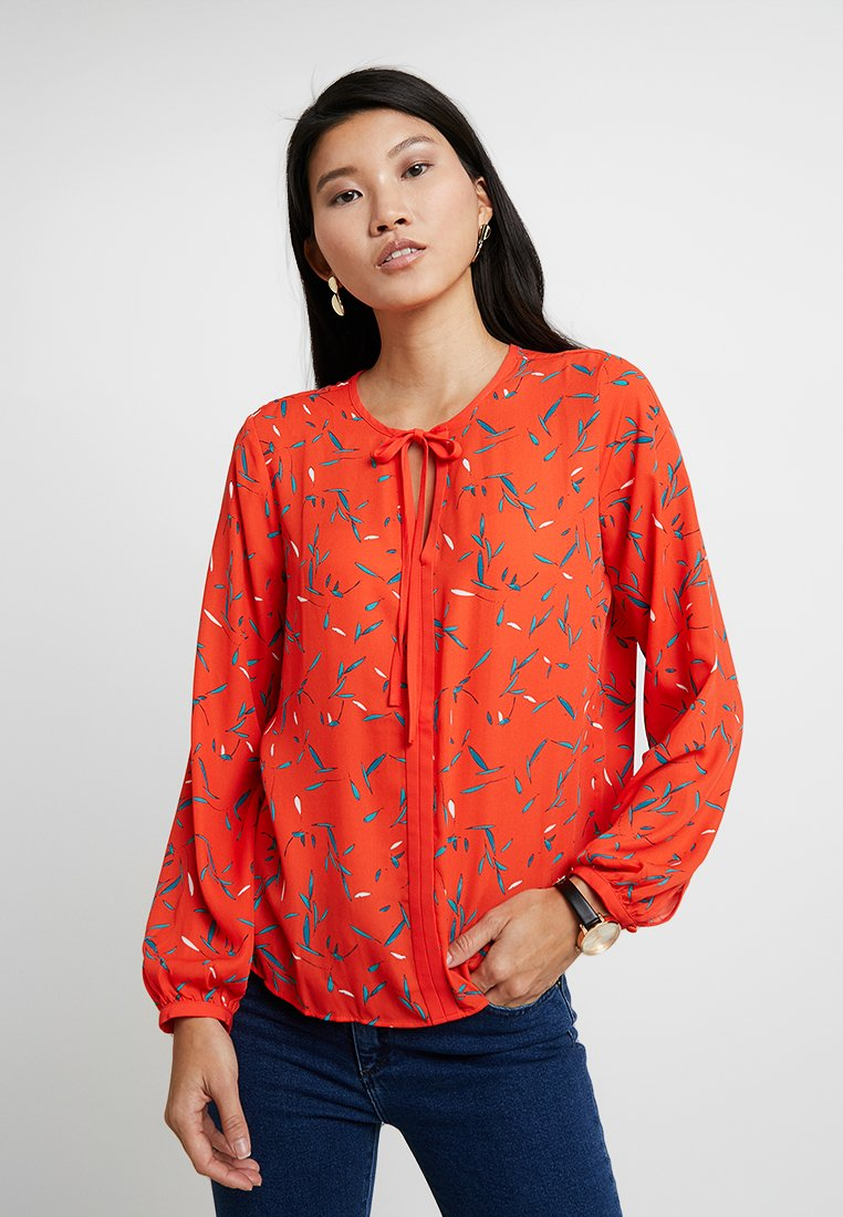 Banana Republic - CONTRAST TRIM CREW FLORAL LEAVES - Blouse - orange