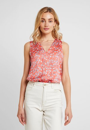 HIGH LOW PIECED  - Blouse - pink/white