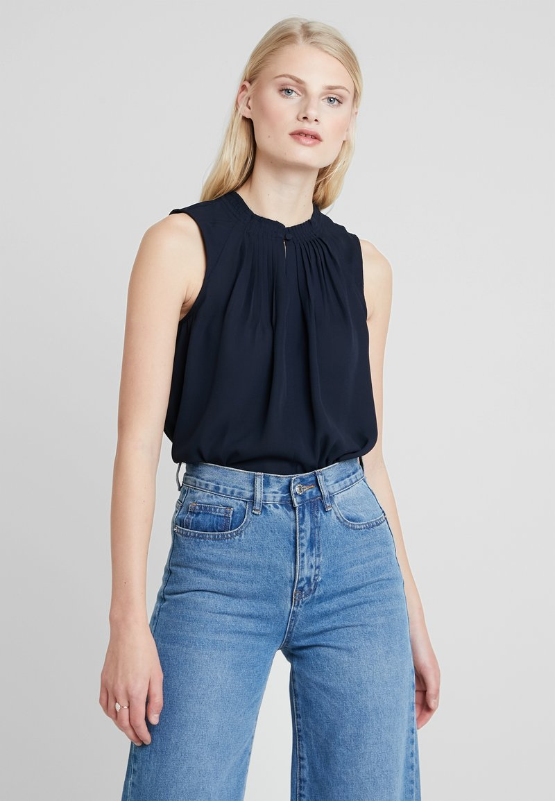 Banana Republic - PLEATED NECK - Blouse - navy