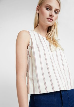 BUTTON BACK CROP STRIPE - Blouse - rose/beige